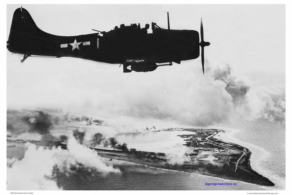 SBD Dauntless, WWII, aerial
