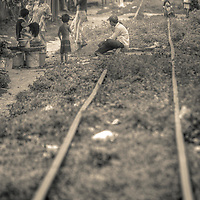Impoverished people live on train tracks Sihanoukville, Cambodia