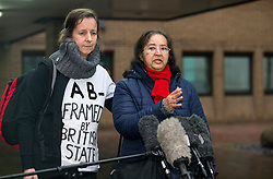 © Licensed to London News Pictures. 29/01/2016. London, UK. JOSEPHINE HERIVEL (L) and CHANDRA BALAKRISHNA (R), the wife of Aravindan Balakrishnan speak to media as they leave Southwark Crown Court in London where Maoist cult leader Aravindan Balakrishnan has been sentenced to 23 years in prison for rape, child cruelty and false imprisonment. Aravindan Balakrishnan was found guilty of the rape of two of his followers and and false imprisonment of  his daughter for more than 30 years in a commune in south London.  Photo credit: Peter Macdiarmid/LNP