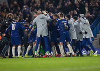 Football - 2018 / 2019 EFL Carabao Cup (League Cup) - Semi-Final, Second Leg: Chelsea (0) vs. Tottenham Hotspur (1)<br /> <br /> Chelsea players celebrate winning the match on penalties at Stamford Bridge <br /> <br /> COLORSPORT/DANIEL BEARHAM