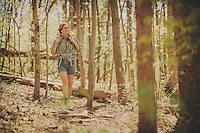 woman back packing and hiking in the blue ridge mountains in spring. Women woman hiking, biking, backpacking, adventuring, camping, paddle boarding outdoors,