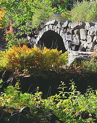 Stone arch bridge and fall foliage, Stoddard, New Hampshire.