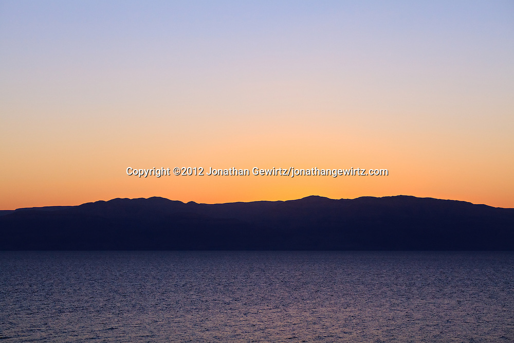 The Mountains of Moab a few minutes before sunrise, as seen from the Israeli Dead Sea coast. WATERMARKS WILL NOT APPEAR ON PRINTS OR LICENSED IMAGES.