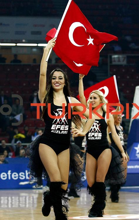 Anadolu Efes's Cheerleaders during their Turkish Airlines Euroleague Beskatball Top 16 Game 2 Anadolu Efes between Panathinaikos Athens at Abdi Ipekci Arena in Istanbul Turkey on Thursday 03 January 2013. Photo by Aykut AKICI/TURKPIX
