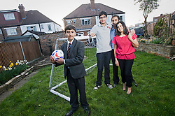 © Ben Cawthra. 29/03/2012. Wembley, UK. Minaxi and Raj Mistry pictured at their home in Wembley, North London with children Dilan (15) and Kanish (17).