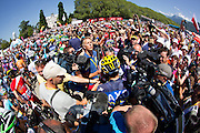 Alberto Contador swamped by media on the start line of the pen-ultimate satge of the Tour de France 2013. Specialized Bicycle Components hosted a VIP experience for select media joining the last four stages of the 2013 Tour de France. Image by Greg Beadle