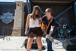 Lexi Larsen performs at the Harley-Davidson Rally Point plaza during the Annual Sturgis Black Hills Motorcycle Rally.  SD, USA.  August 7, 2016.  Photography ©2016 Michael Lichter.
