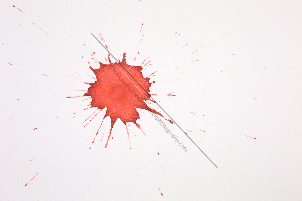 Blood droplet. In forensic science, the pattern created by projected blood is analyzed to determine information about the origin on the body, the weapon used and the number of blows, the relative position of the victim and assailant, and the sequence of events. This is a single drop that fell 20 cm onto a flat paper surface.