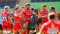 Rugby Union - 2019 / 2020 Gallagher Premiership - Leicester Tigers vs Sale Sharks<br /> <br /> Lood De Jager of Sale Sharks is congratulated by team mates  at Welford Road.<br /> <br /> COLORSPORT/LYNNE CAMERON