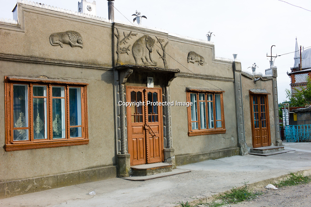 20150816 Soroca Moldova. Head of the Gipsy people and many other Gipsys make this hill near Soroca the capitol of Gipsies.The architecture is eclectic and atonishing while the roads are not paved. Most of the buildings are not finished or will never be finished.