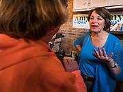 18 OCTOBER 2019 - SIGOURNEY, IOWA: US Senator AMY KLOBUCHAR (D-MN) talks to an Iowa voter after a campaign event in Sigourney, IA. Sen. Klobuchar is on barnstorming bus tour of southeast Iowa this weekend. She is campaigning to be the Democratic nominee for the US Presidency. In addition to campaign meet and greet events, she stopped at a biofuels plant to learn about the difficulties farmers and biofuels producers face because of the trade war with China. Iowa holds the first selection event of the Presidential election cycle. The Iowa caucuses are Feb. 3, 2020.        PHOTO BY JACK KURTZ