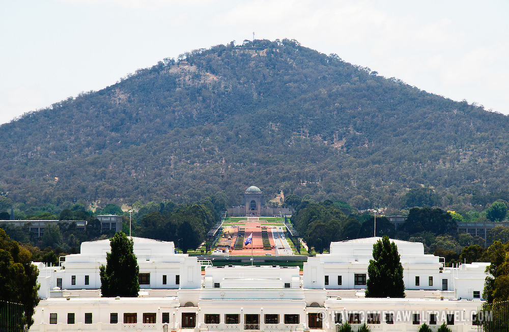 View of Old Parliament House, the Australian War Memorial, and Mt Ainslee from the top of the New Parliament House in Canberra