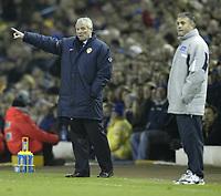 Photo. Aidan Ellis, Digitalsport.<br /> Leeds United v Leicester City.<br /> FA Barclaycard Premiership.<br /> 05/04/2004.<br /> Leeds Eddie Gray and Leicester's Micky Adams