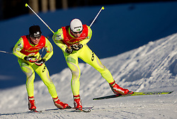 Matej Drinovec of NZS of Trzic  - Trifix and Alen Turjak of SSK Mislinja during cross country race for Slovenian National Nordic combined Championship, on January 5, 2011 at Rudno polje, Pokljuka, Slovenia. (Photo by Vid Ponikvar / Sportida.com)