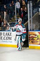 KELOWNA, CANADA - FEBRUARY 15:  Roman Basran #30 of the Kelowna Rockets skates onto the ice to accept the second star of the game against the Everett Silvertips on February 15, 2019 at Prospera Place in Kelowna, British Columbia, Canada.  (Photo by Marissa Baecker/Shoot the Breeze)