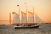 Schooner Pride sunset cruise of the harbor in Charleston, SC.