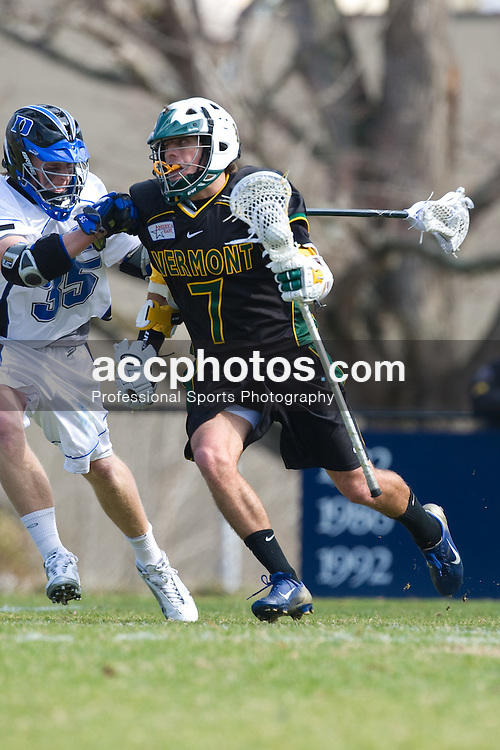 23 February 2008: Vermont Catamonts men's lacrosse attackman Geoff Worley (7) in a 19-7 loss to the Duke Blue Devils at Koskinen Stadium in Durham, NC