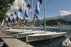 The BLU26 fleet awaiting the start of the St. Moritz Match Race. Photo:Chris Davies/WMRT