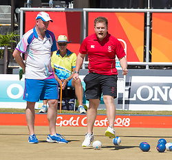 Handout photo provided by Jeff Holmes of Wales' Men's Pairs, Danny Salmon (pictured) and Marc Wyatt celebrate gold in the Lawn Bowl during day five of the 2018 Commonwealth Games in the Gold Coast, Australia.