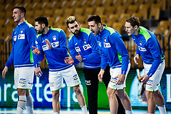 Nejc Cehte of Slovenia and Tilen Kodrin of Slovenia during Men's EHF EURO 2022 Qualifiers between national teams Slovenia and Netherlands in Arena Zlatorog, Celje, Slovenia on 10. January, 2021. Photo by Grega Valancic