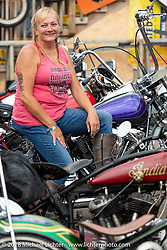 Melissa Missi Shoemaker at the Iron Horse Saloon during the 78th annual Sturgis Motorcycle Rally. Sturgis, SD. USA. Sunday August 5, 2018. Photography ©2018 Michael Lichter.