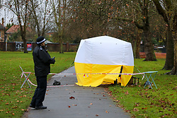 © Licensed to London News Pictures. 06/12/2019. London, UK. A police officer guards a tent in Chestnuts Park, Harringay, north London, opposite a primary school, where a 14-year-old girl was allegedly raped. <br /> The victim was allegedly approached by a man who tried to engage her in conversation before raping her. Police were called just after 7 pm   Thursday, 5 December 2019. Photo credit: Dinendra Haria/LNP