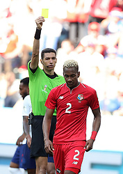 NIZHNY NOVGOROD, June 24, 2018  The referee gives a yellow card to Michael Amir Murillo (front) of Panama during the 2018 FIFA World Cup Group G match between England and Panama in Nizhny Novgorod, Russia, June 24, 2018. England won 6-1. (Credit Image: © Xu Zijian/Xinhua via ZUMA Wire)