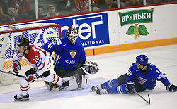 Goalkeeper of Finland Niklas Backstrom and Patrick Sharp of Canada who has just scored and Ville Koistinen of Finland at ice-hockey game Canada vs Finland at Qualifying round Group F of IIHF WC 2008 in Halifax, on May 12, 2008 in Metro Center, Halifax, Nova Scotia, Canada. Canada won. (Photo by Vid Ponikvar / Sportal Images)