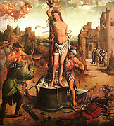 Portrait of  S. Sebastião (St Sebastian) 1530. An early Chritian saint and martyr said to have been killed during the Roman emperor Diocletian's persecution of Christians. Painted by Grão Vasco