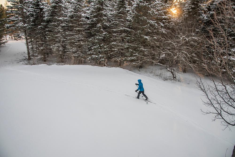 Cross-country skiing on Michigan's Upper Peninsula near Marquette.