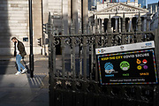 A government and NHS National Health Service notice, urges the public to stay Covid secure during a high infection rate in the capital, during the third English lockdown of the Coronavirus pandemic, on 23rd February 2021, in London, England.