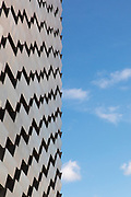 Detail of the architecture of CopenHill wall, designed by Bjarke Ingels, which measure up to 80m and will host the hightest artificial climbing wall in the world.