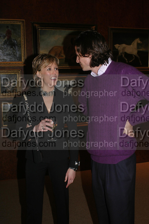 Lady Alexandra Spencer-Churchill and Dominic Spencer-Churchill. 'The Road to Abtsraction' an exhibition of paintings by Rosita Marlborough. the Fleming Collection. 13 Berkeley St. London W1. 31 March 2005. ONE TIME USE ONLY - DO NOT ARCHIVE  © Copyright Photograph by Dafydd Jones 66 Stockwell Park Rd. London SW9 0DA Tel 020 7733 0108 www.dafjones.com