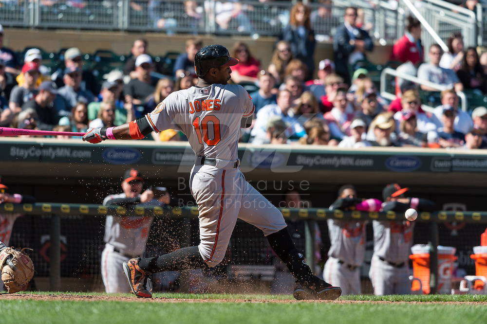 Adam Jones #10 of the Baltimore Orioles bats against the Minnesota Twins on May 12, 2013 at Target Field in Minneapolis, Minnesota.  The Orioles defeated the Twins 6 to 0.  Photo: Ben Krause