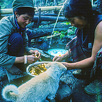 Memba womenin wash potatoes in Bayi village at the downstream end of the Tsangpo River Gorge, one of the deepest canyons in the world, in the Himalaya of eastern Tibet, China.