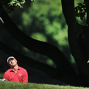 Jordan Spieth, USA, reacts to his approach shot on the seventh hole during the second round of The Barclays Golf Tournament at The Plainfield Country Club, Edison, New Jersey, USA. 28th August 2015. Photo Tim Clayton