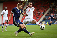 Scotland midfielder James Forrest (7) (Celtic) and Portugal defender Kevin Rodrigues (5) (Real Sociedad)  during the Friendly international match between Scotland and Portugal at Hampden Park, Glasgow, United Kingdom on 14 October 2018.