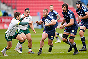 Sale Sharks hooker Akker Van Der Merwe breaks through London Irish defence during a Gallagher Premiership Round 14 Rugby Union match, Sunday, Mar 21, 2021, in Eccles, United Kingdom. (Steve Flynn/Image of Sport)