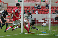 Photo: Lee Earle.<br /> Swindon v Southend. Coca Cola League 1.<br /> 10/09/2005. Swindon's Rory Fallon taps home from close range to score.