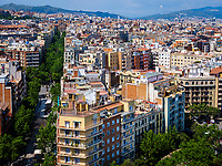 BARCELONA, SPAIN - CIRCA MAY 2018: View of Barcelona from la Sagrada Familia.
