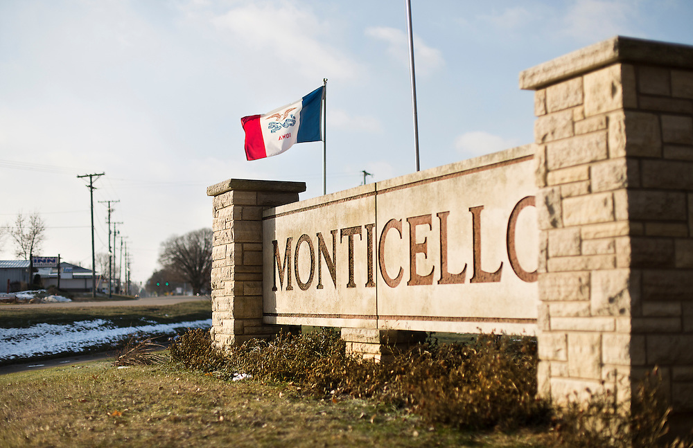MONTICELLO, IA – JANUARY 6: Monticello city signage on Highway 151 on January 6, 2017.