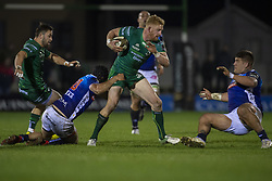 March 22, 2019 - Ireland - Darragh Leader of Connacht tackled by Ian McKinley of Benetton during the Guinness PRO14 match between Connacht Rugby and Benetton Rugby at the Sportsground in Galway, Ireland on March 22, 2019  (Credit Image: © Andrew Surma/NurPhoto via ZUMA Press)