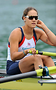 Bled, SLOVENIA. GBR W2- Bow Jessica EDDIE.  1st FISA World Cup, on Lake Bled. Friday  28/05/2010  [Mandatory Credit Peter Spurrier/ Intersport Images]
