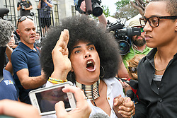 June 15, 2017 - Norristown, Pennsylvania, U.S - Cosby accuser, LILI BERNARD, getting into an argument with a Cosby supporter on the steps of the Montgomery County Court House on the fourth day of jury deliberations (Credit Image: © Ricky Fitchett via ZUMA Wire)