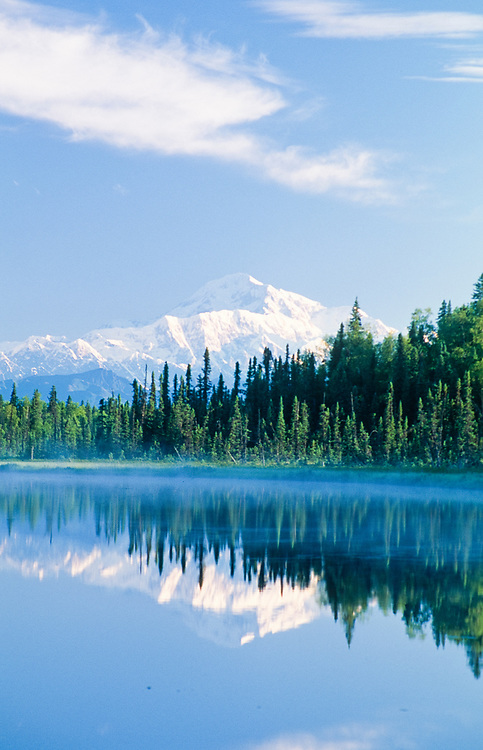 Alaska. Mt McKinley reflected in lake water at Trapper's Creek.
