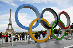 A picture taken on September 15, 2017 shows the Olympics Rings on the Trocadero Esplanade near the Eiffel Tower in Paris, after the International Olympic Committee named Paris host city of the 2024 Summer Olympic Games. The International Olympic Committee named Paris and Los Angeles as hosts for the 2024 and 2028 Olympics on September 13, 2017, crowning two cities at the same time in a historic first for the embattled sports body. Photo by Alain Apaydin/ABACAPRESS.COM