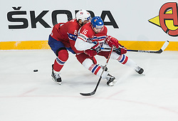 Jonas Holos of Norway vs Michal Birner of Czech Republic during the 2017 IIHF Men's World Championship group B Ice hockey match between National Teams of Czech Republic and Norway, on May 11, 2017 in AccorHotels Arena in Paris, France. Photo by Vid Ponikvar / Sportida