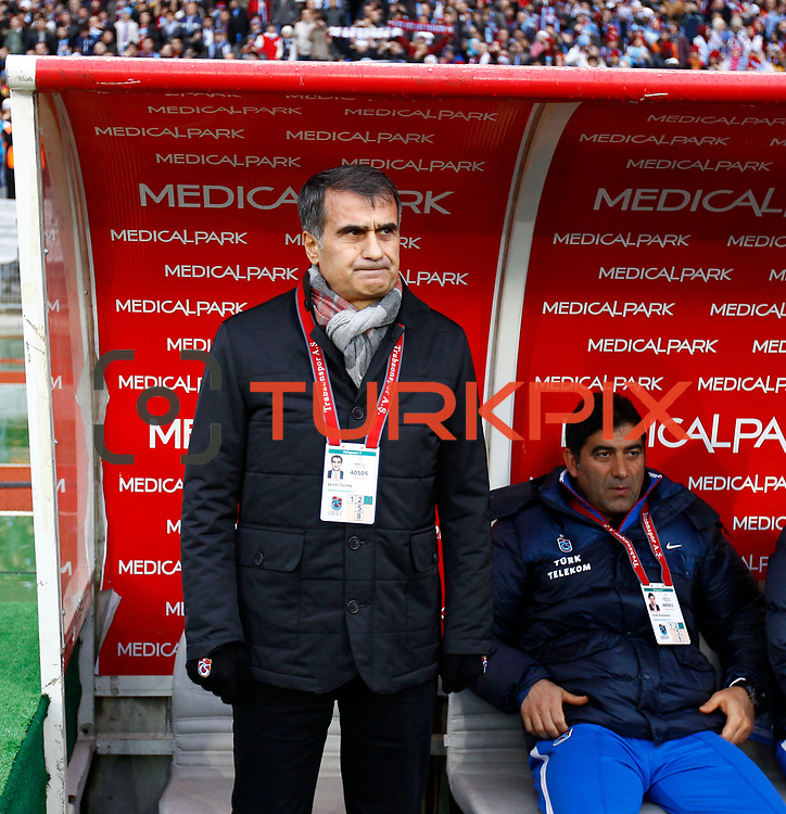 Trabzonspor's coach Senol Gunes (L) during their Turkish soccer superleague match IBBSpor between Trabzonspor at the Ataturk Olympic stadium in Istanbul Turkey on Saturday 07 January 2012. Photo by TURKPIX