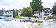 Henley-On-Thames, Berkshire, UK., Friday, 13.08.21,   Heat of the Princess Elizabeth Challenge Cup, St Joseph's Prepartory School USA, approaching the finishing line, losing the heat to St Paul's School, 2021 Henley Royal Regatta,  River Thames, Thames Valley, Henley Reach, [Mandatory Credit © Peter Spurrier/Intersport Images],