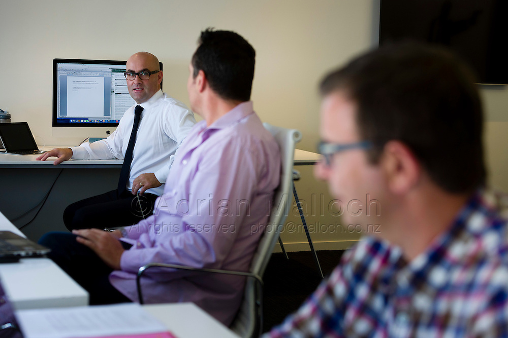 Carrick Graham, Ricardo Simich and Cameron Brewer in the Facilitate Communications Parnell, Auckland office.